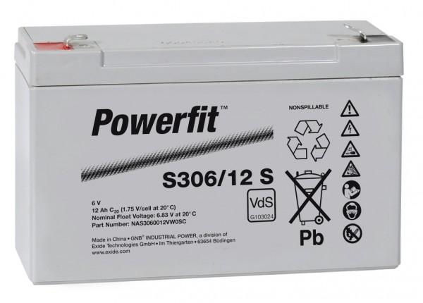 Exide Powerfit S306/12 S 6V 12 Ah dryfit lood accu AGM met VdS