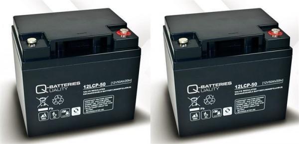 Vervangende batterij voor Mobilis M74 2 stuks. Q-Batteries 12LCP-50 12V – 50 Ah lood batterij cyclus