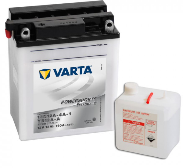 VARTA Powersports Freshpack 12N12A-4A-1 Motorcycle Battery YB12A-A 512011012 12V 12 Ah 160A