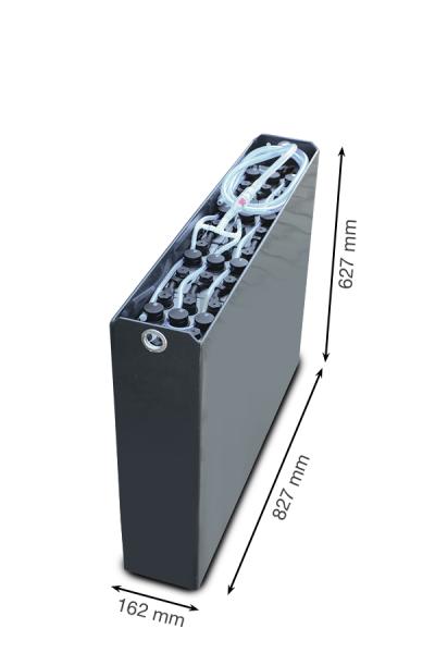 Q-Batteries 24V vorkheftruck accu 2 PzS 230 Ah DIN A (827 * 162 * 627 mm L/B/H) caja de acero 570140