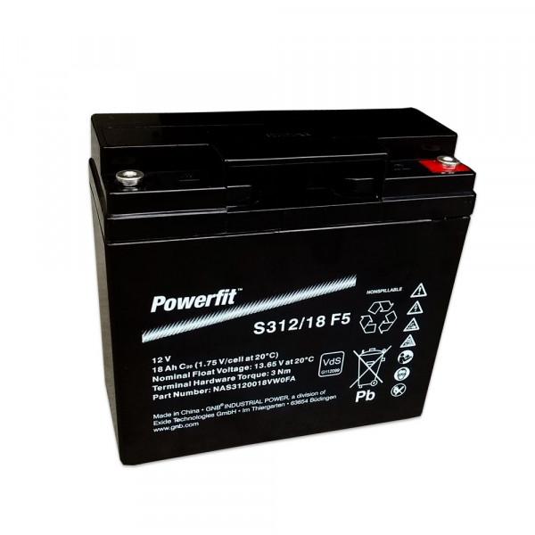 Exide Powerfit S312/18 F5 12V 18 Ah dryfit lood batterij AGM met VdS