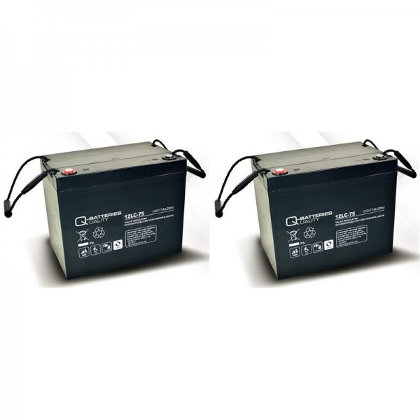 vervangingsbatterij voor Invacare G24 2 St. Q-Batteries 12LC-75/12V – 77 Ah lood batterij cyclus typ