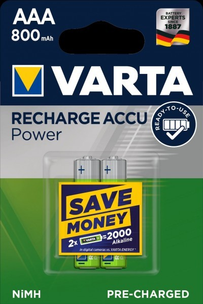 VARTA batterij opladen Accu Power Micro AAA NiMH 800mAh (2 Blister)
