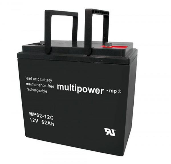 Multipower MP62-12C/12V 62 Ah lood batterij AGM cyclus type