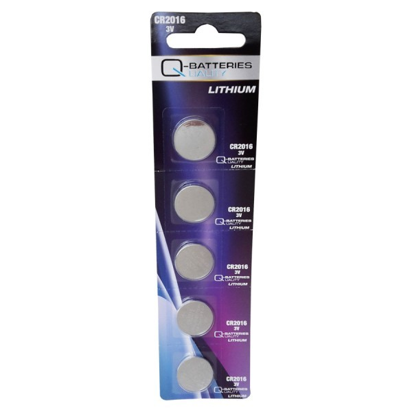 Q-Batteries CR2016 Lithium Knoopcellen 3V (5 Blister) UN3090