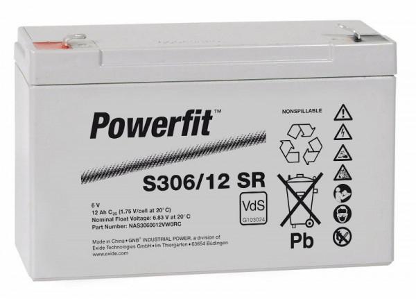 Exide Powerfit S306/12 SR 6V 12 Ah dryfit lood accu AGM met VdS
