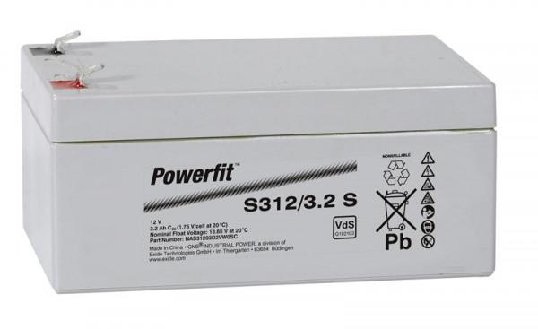 Exide Powerfit S312/3,2 S 12V 3,2 Ah dryfit lead accu AGM met VdS