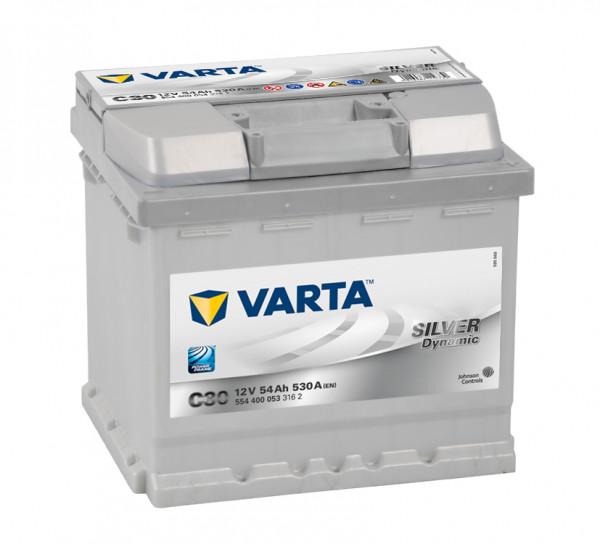 VARTA SILVER Dynamic 554 400 053 3162 C30 12Volt 54 Ah 530A/EN start accu