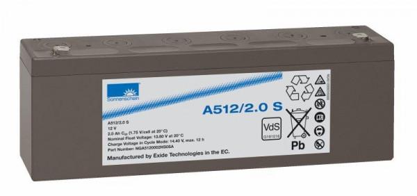 Exide sonnenschein A512/2 S VdS 12V 2 Ah dryfit loodgel accu VRLA