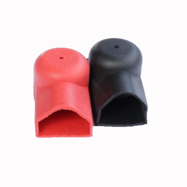 Paar paaldoppen voor platte connectoren en kabels 1 x rood, 1 x zwart