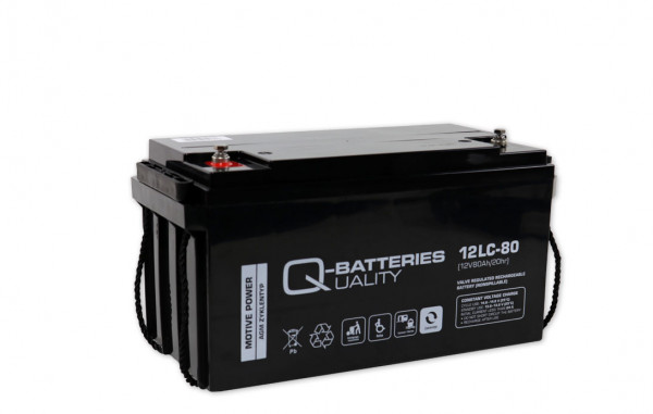Q-Batteries 12LC-80/12V – 80 Ah lood accu cyclus type AGM – Deep Cycle VRLA