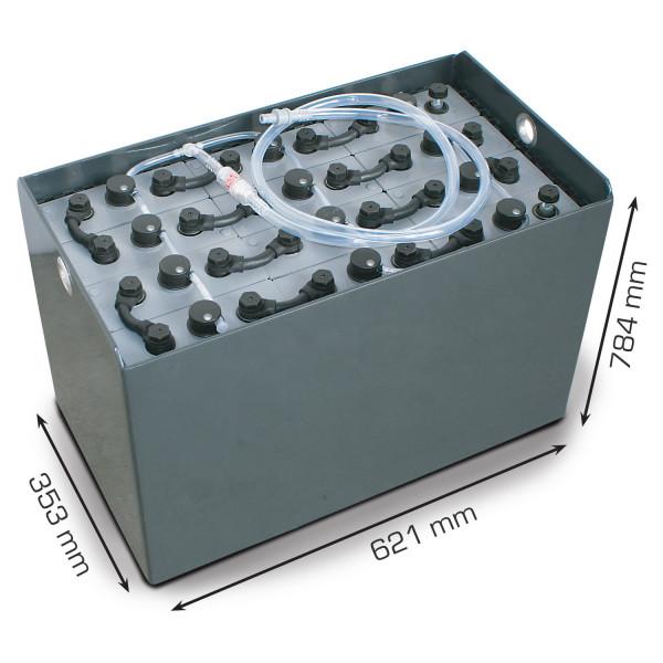 Q-Batteries 24V vorkheftruck accu 4 PzS 620 Ah DIN B (621 * 353 * 784 mm L/B/H) caja de acero 570141