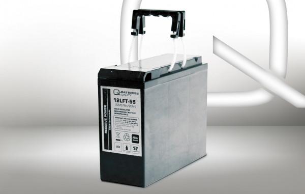 Q-Batteries 12LFT-55 12V 55 Ah AGM frontterminal lood accu 10 jaar type VRLA
