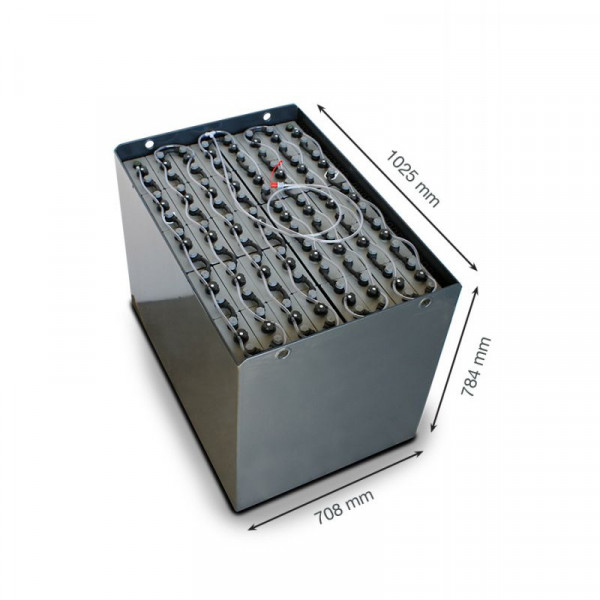 Q-Batteries 80V vorkheftruck accu 4 PzS 560 Ah DIN A (1025 * 708 * 784 mm L/B/H) caja de acero 57019