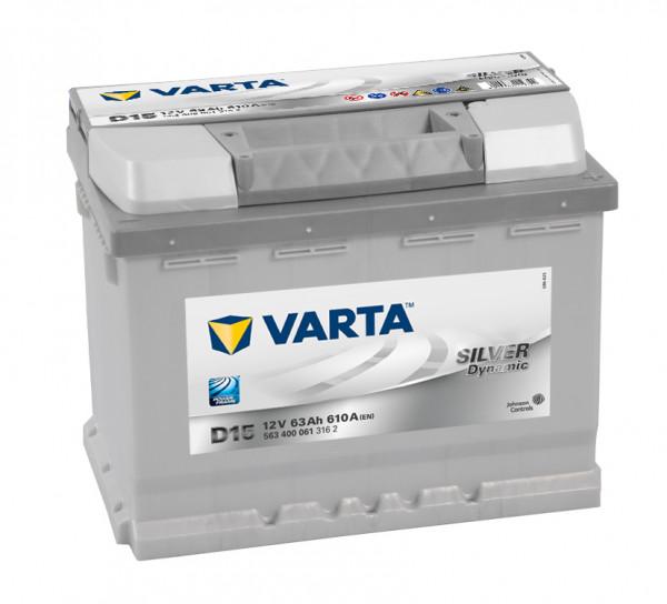 VARTA SILVER Dynamic 563 400 061 3162 D15 12Volt 63 Ah 610A/EN start accu