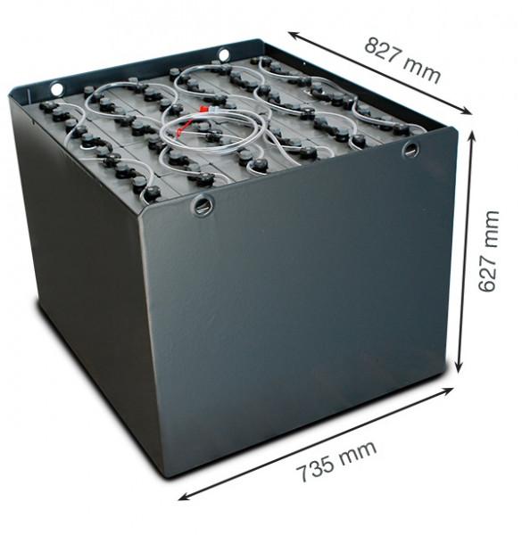 Q-Batteries 48V vorkheftruck accu 6 PzS 750 Ah DIN A (827 * 735 * 627 mm L/B/H) caja de acero 570170