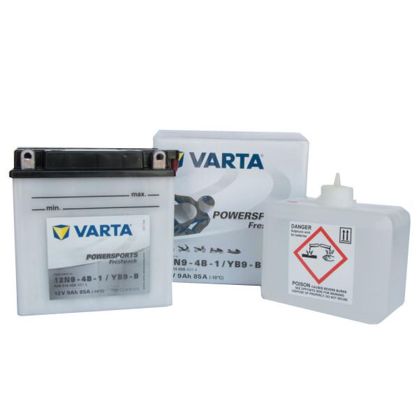 VARTA Powersports Freshpack 12N9-4B-1 Motorcycle Battery YB9-B 509014008 12V 9 Ah 85A