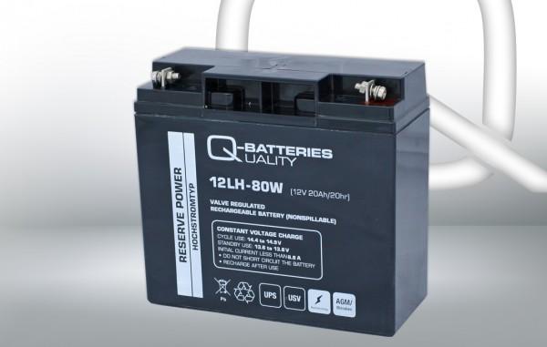 Q-Batteries 12LH-80 W 12V 20 Ah lood non spillable accu AGM VRLA Hoge stroom UPS