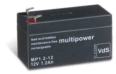 Multipower MP1,2-12/12V 1,2 Ah lood batterij AGM met VdS goedkeuring