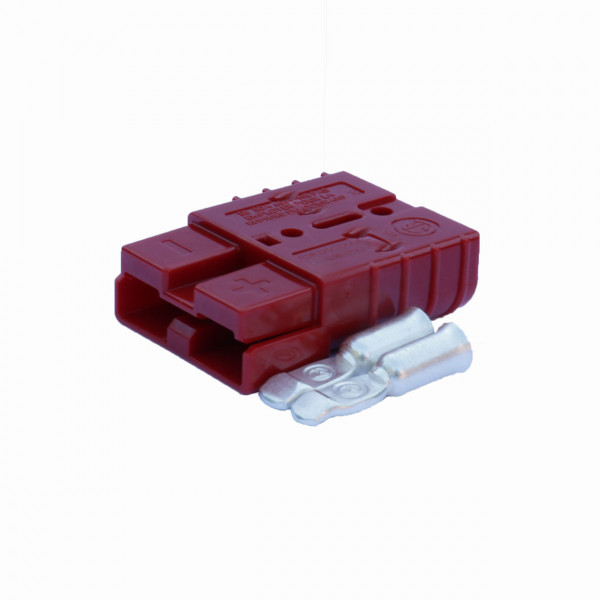 Anderson platte stekker SB 50A rood, stekker incl. 2 hoofdcontacten, 24V, 16 mm² (of vergelijkbaar m
