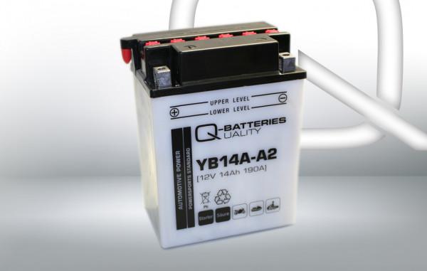 Q-Batteries Motorcycle Battery YB14A-A2 51412 Acid 12V 14 Ah 190A