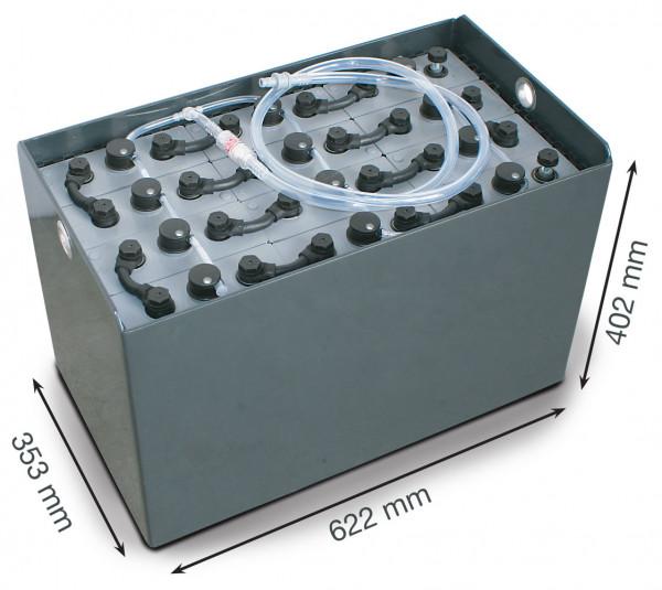 Q-Batteries 24V vorkheftruck accu 4 PzS 240 Ah DIN B (622 * 353 * 402 mm L/B/H) caja de acero 570140