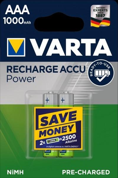 VARTA batterij opladen Accu Power Micro AAA NiMH 1000mAh (2 Blister)
