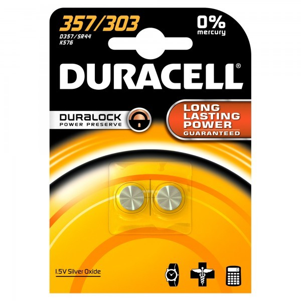 Duracell D 357/303 SR44 horloge knoopcel zilveroxide 190mAh 1.55V (2 blister)