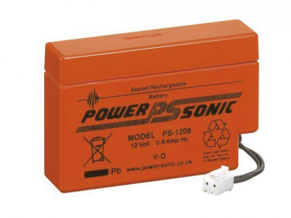 Powersonic 12V 0.8 Ah lood non spillable accu AGM PS-1208 met JST stekker
