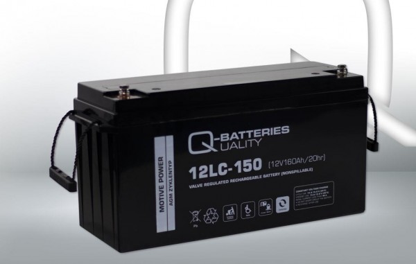 Q-Batteries 12LC-150/12V – 160 Ah lood accu cyclus type AGM – Deep Cycle VRLA