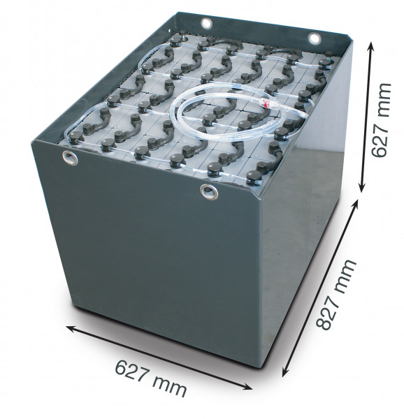 Q-Batteries 48V vorkheftruck accu 5 PzS 625 Ah DIN A (827 * 627 * 627 mm L/B/H) caja de acero 570170