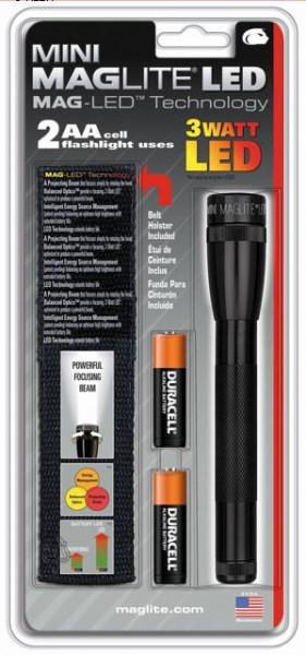 Maglite Mini LED2AA Pro 97 lumen staaflicht zwart 2x AA batterij + holster (blister)