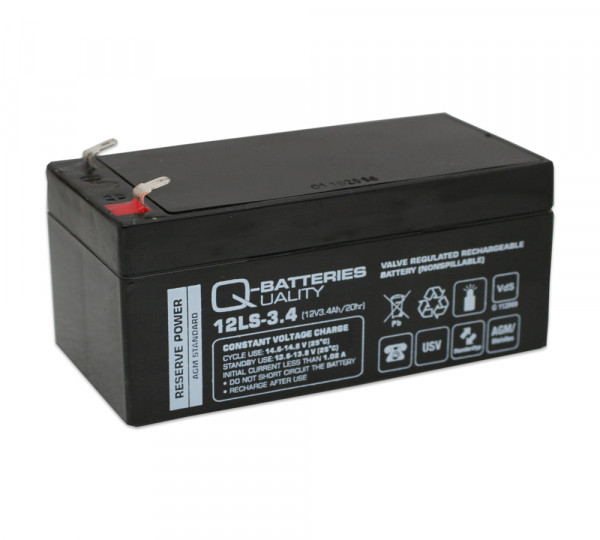 Q-Batteries 12LS-3.4 12V 3,4 Ah Lead non spillable accu/AGM VRLA met VdS