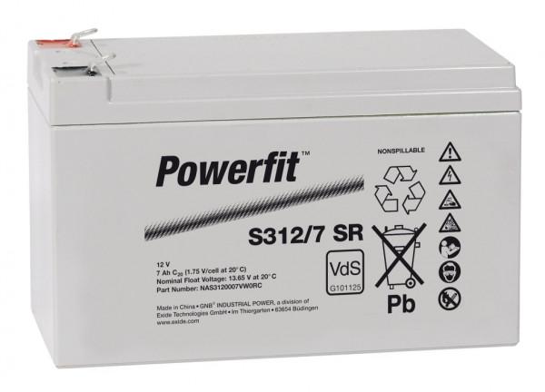 Exide Powerfit S312/7 SR 12V 7 Ah dryfit lood accu AGM met VdS