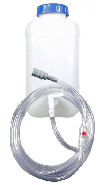 Druppelwatertank 10 l met uitlaatklep, stroomindicator met filter, slang (4 m) en koppeling