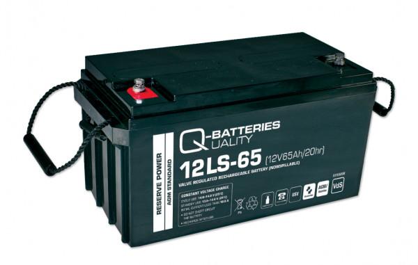 Q-Batteries 12LS-65 12V 65 Ah lood vlies batterij/AGM VRLA met VdS