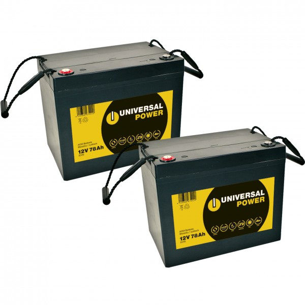 Vervangingsbatterij voor Meyra Eurosprint 2 stuks. Q batterijen 12LC-75/12V – 77 Ah loodaccu type AG