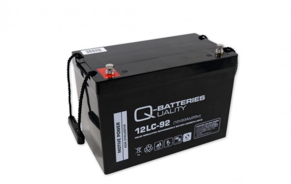 Q-Batteries 12LC-92/12V – 93 Ah lood accu cyclus type AGM – Deep Cycle VRLA