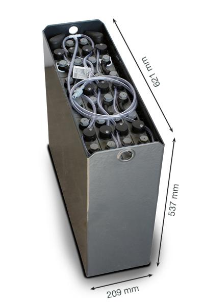 Q-Batteries 24V vorkheftruck accu 2 PzS 180 Ah DIN B (621 * 209 * 537 mm L/B/H) caja de acero 570140