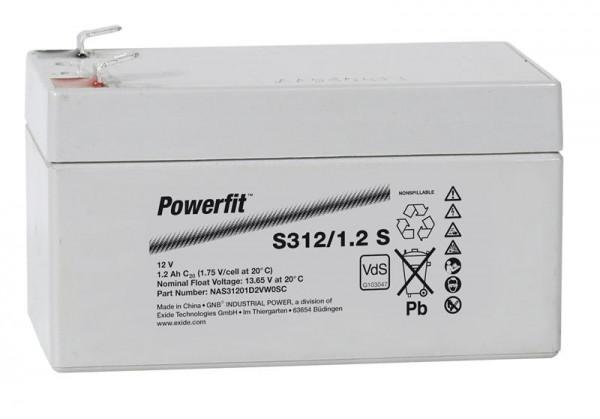 Exide Powerfit S312/1,2 S 12V 1,2 Ah dryfit lead accu AGM met VdS