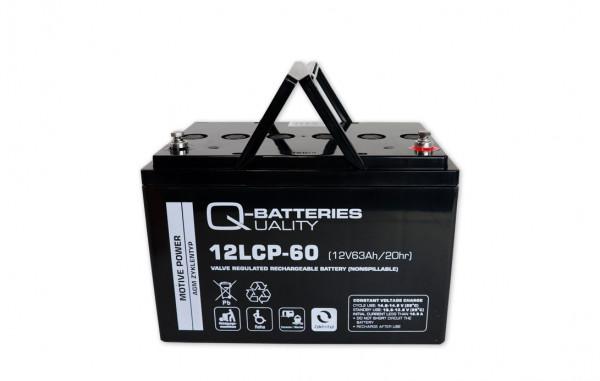 Q-Batteries 12LCP-60/12V – 63 Ah lood accu cyclus type AGM – Deep Cycle VRLA