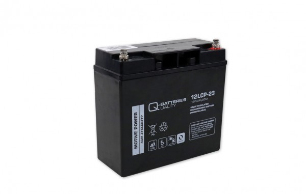 Q-Batteries 12LCP-23/12V – 23 Ah lood accu cyclus type AGM – Deep Cycle VRLA schroefaansluiting M5