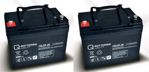 Vervangingsbatterij voor Mobilis M33/M36 2 St. Q-Batteries 12 LCP – 36/12V – 36 Ah-cyclustype AGM VR