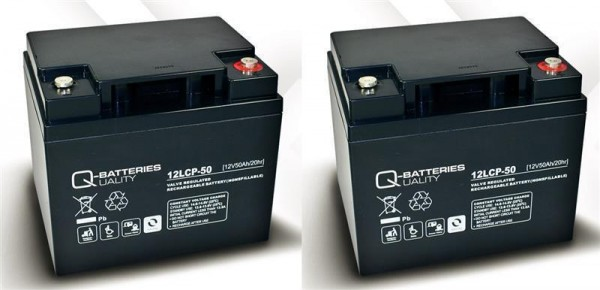 Vervangende batterij voor Trendmobil Saturn 2 stuks. Q-Batteries 12LCP-50 12V – 50 Ah lood batterij