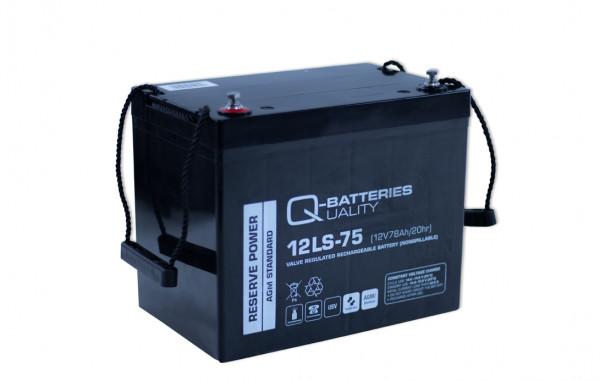 Q-Batteries 12LS-75 12V 75 Ah loodaccu Standaard type AGM 10 jaartype