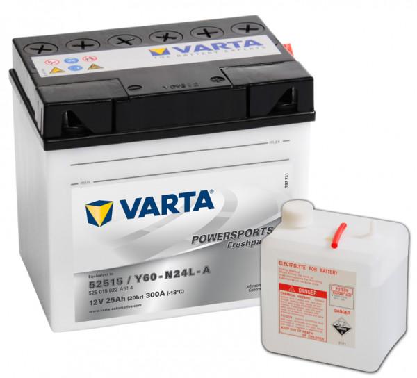 VARTA Powersports Freshpack 52515 Motorcycle Battery Y60-N24L-A 525015022 12V 25 Ah 300A