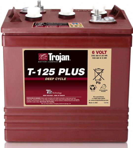 Trojan T-125 Plus 6V 240 Ah Deep Cycle tractie accu ELPT-terminal