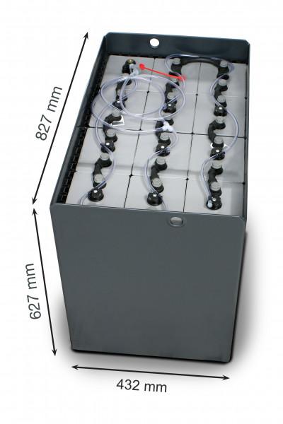 Q-Batteries 24V vorkheftruck accu 7 PzS 875 Ah DIN A (827 * 432 * 627 mm L/B/H) caja de acero 570140