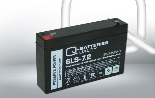 Q-Batteries 6LS-7.2 6V 7,2 Ah Lead non spillable accu/AGM VRLA