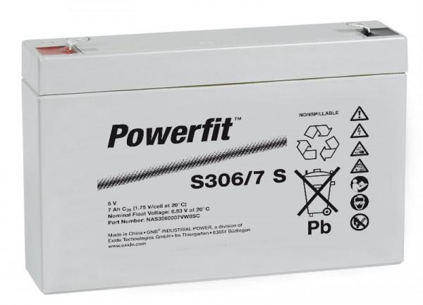 Exide Powerfit S306/7 S 6V 7,5 Ah dryfit lood accu AGM